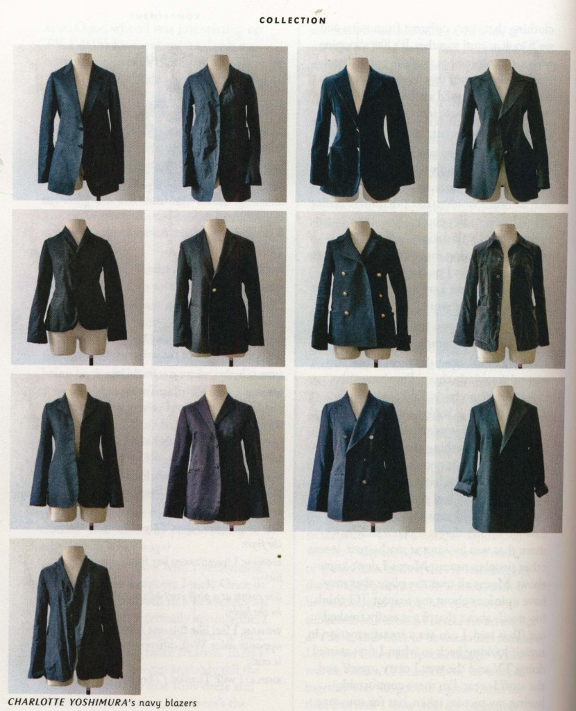 Thirteen navy blazers, from Women in Clothes