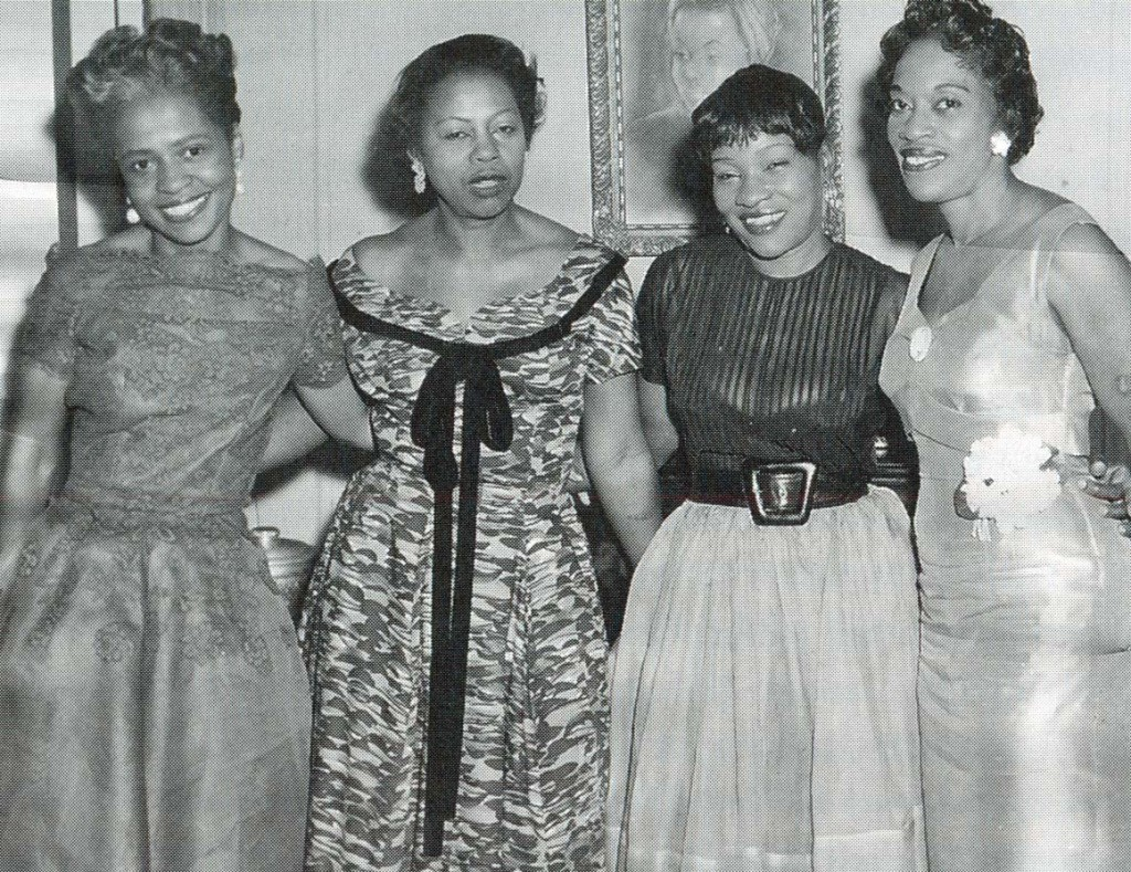 Willi Posey, left, at her fiftieth birthday party. From We Flew Over the Bridge by Faith Ringgold