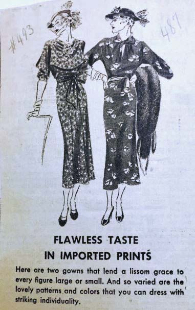 """Ad for the shop """"The Tailored Woman,"""" ca. 1936"""