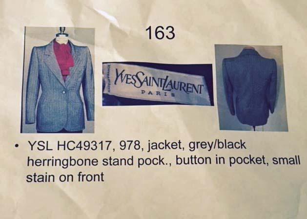 Documentation for the Yves Saint Laurent jacket