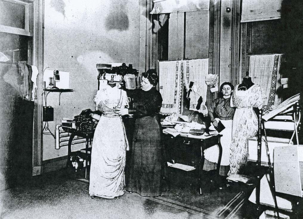 Anna Tirocchi in her shop, 1914. From the book From Paris to Providence