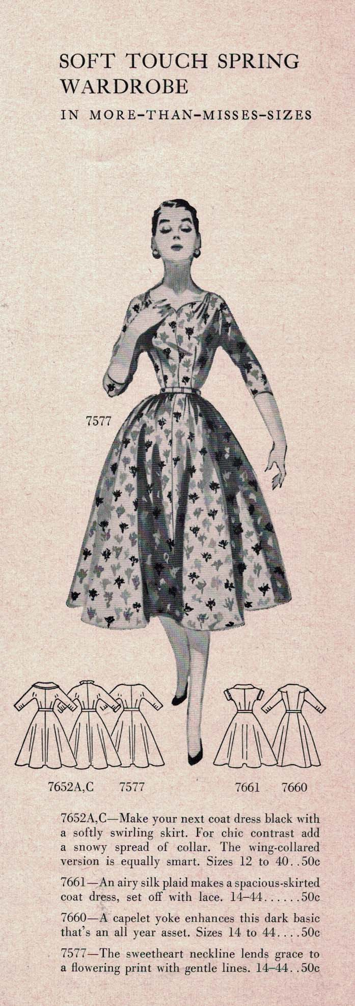 Butterick Pattern Book, Spring 1956. Click to enlarge